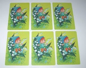 Vintage Playing Cards with Pixie or Elf in Flowers Set of 6