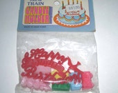 Vintage Miniature Train Birthday Candle Holder Set in Original Package Made in Hong Kong