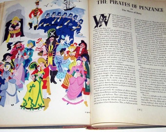 A Treasury of Gilbert and Sullivan Vintage 1940s Song Book and Operattas by Deems Taylor Dr. Albert Sirmay Illustrated by Lucille Corcos