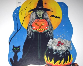 Vintage Witch and Cauldron Halloween Die Cut Decoration
