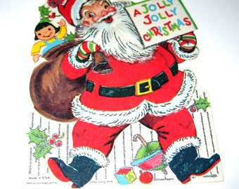 Vintage Unused Christmas Greeting Card with Jolly Santa Claus Sack of Toys and Silver Embossing