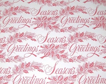 Vintage Christmas Wrapping Paper or Gift Wrap with Red Seasons Greetings Words