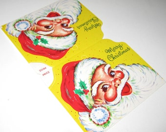 Vintage Christmas Stocking Header Card with Jolly Santa Claus Small