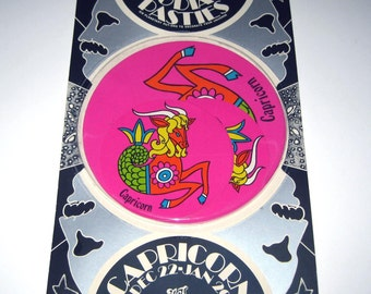 Vintage 1960s or 1970s Set of 6 Zodiac Pasties or Stickers in Original Package Capricorn