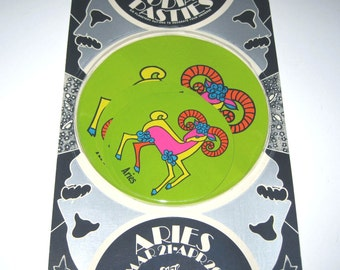Vintage 1960s or 1970s Set of 6 Zodiac Pasties or Stickers in Original Package Aries
