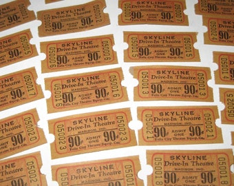 Vintage Skyline Drive In Theatre Tickets Madison Indiana 90 Cent Denomination Never Used Set of 22