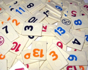 Plastic Rummikub Tiles or Game Pieces with Numbers and Faces Set of 105