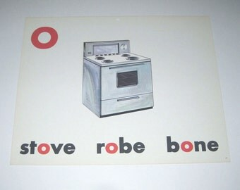 Vintage 1960s Children's Giant Sized School Flash Card with Picture and Word for Stove