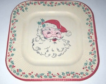 Vintage Christmas Paper Plate with Santa Claus