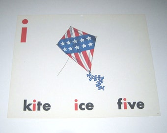 Vintage 1960s Giant Sized School Flash Card with Picture and Word for Red White and Blue Kite, Patriotic