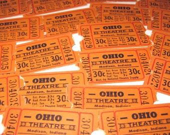 Vintage Ohio Theatre Tickets Madison Indiana Never Used Set of 22