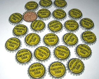 Vintage Bottle Caps with Cork Backs Yellow Imitation Pineapple Soda Set of 25