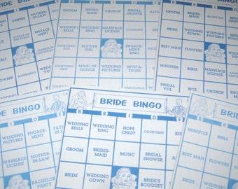 Blue Vintage 1950s Bride Bingo Cards Set of 8