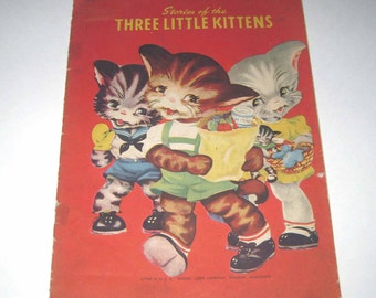 Stories of the Three Little Kittens Vintage 1940s Over Sized Children's Book