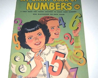 Unused My Giant Book of Numbers 1950s Over Sized Coloring or Work Book for Children