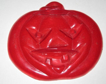 Vintage Red Plastic Jack-O-Lantern Cookie Cutter for Halloween
