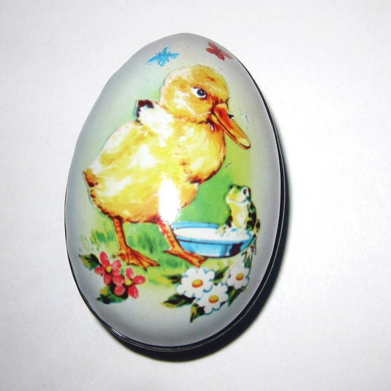 Vintage Tin Litho Easter Egg Candy Container with Yellow Duckling and Frog British Crown Colony of Hong Kong