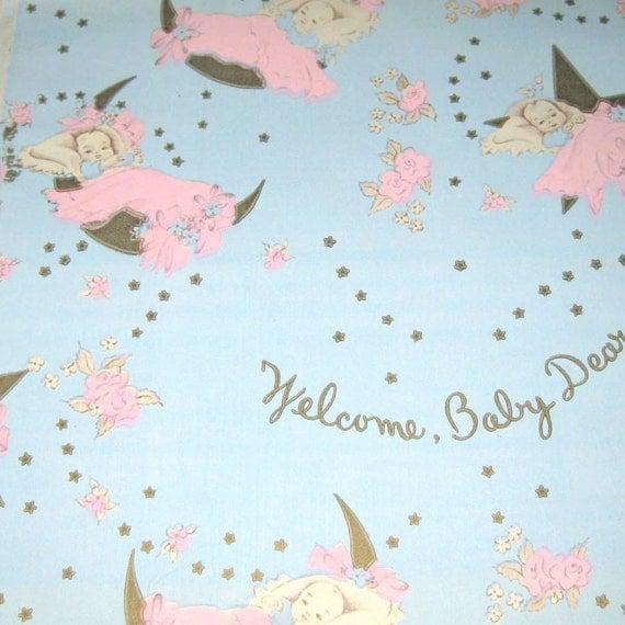 Vintage Wrapping Paper or Gift Wrap with Babies and Moon Stars and Flowers