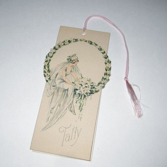 Vintage Art Deco Bridge Tally with Beautiful Bride with Bouquet in Ring of Flowers LAST ONE