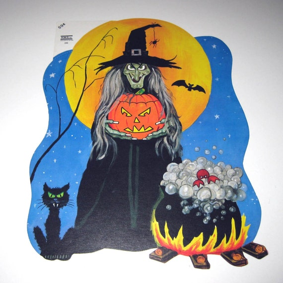 Vintage witch and cauldron halloween die cut decoration for 3 witches halloween decoration