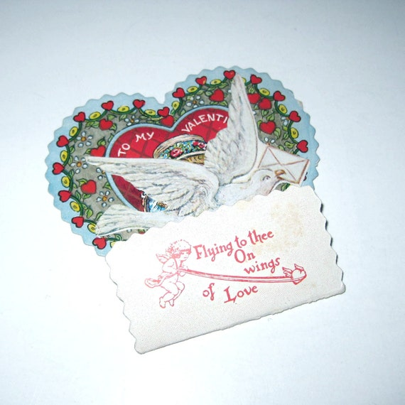 Vintage Antique Pop Up Honeycomb Valentine Greeting Card with White Dove and Girl