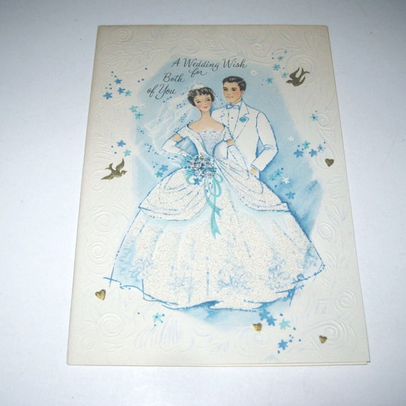 Vintage Unused Wedding Greeting Card with Glittered Bride and Groom