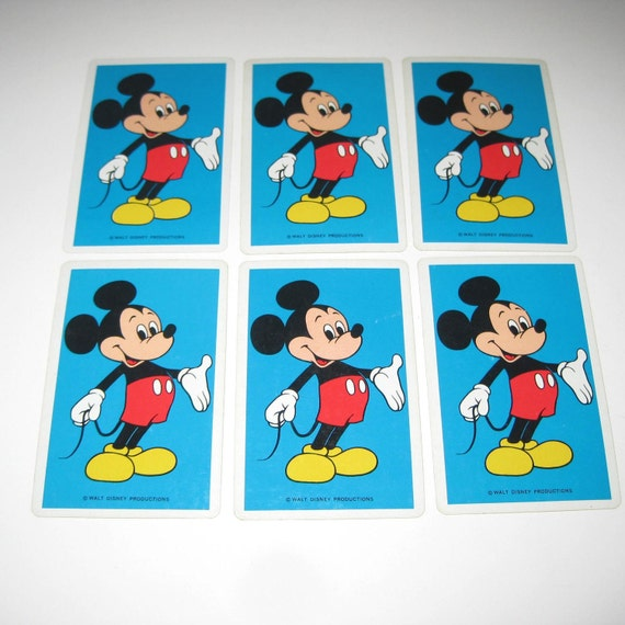 Vintage Mickey Mouse Children's Playing Cards Set of 6