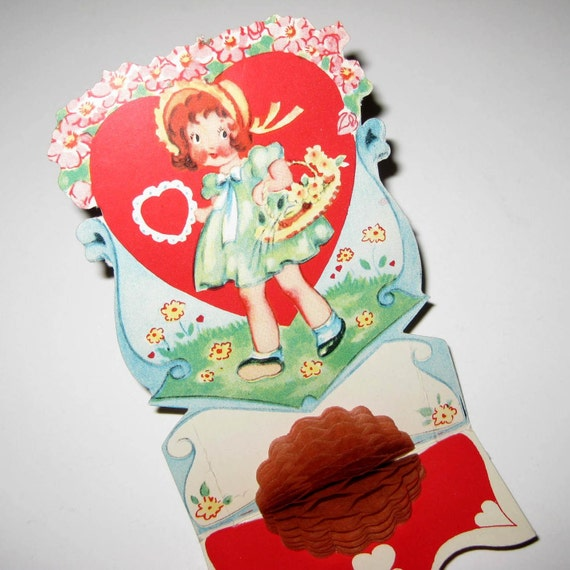 Vintage Antique Fold Out Valentine Greeting Card with Girl Basket of Flowers and Honeycomb