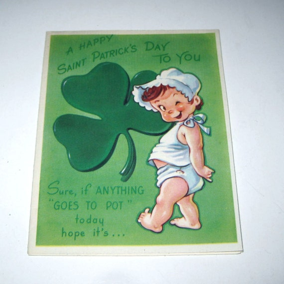 Vintage 1950s Novelty St. Patrick's Day Greeting Card with Cute Winking Baby and Shamrock