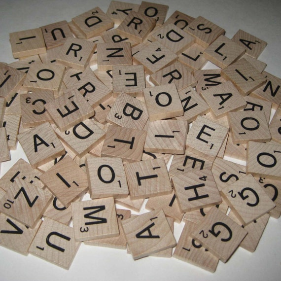 Vintage Wooden Scrabble Tiles or Game Pieces Lot of 98
