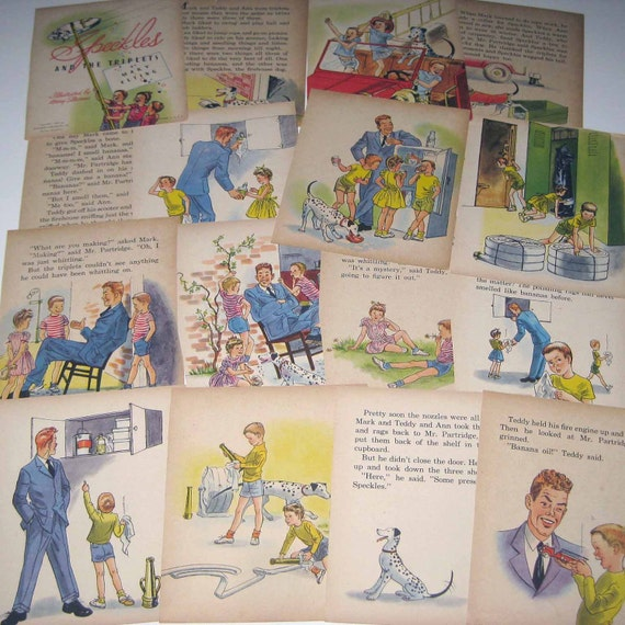 RESERVED FOR KRISTIN Vintage 1940s Children's Book Pages from Speckles and the Triplets by Whitman