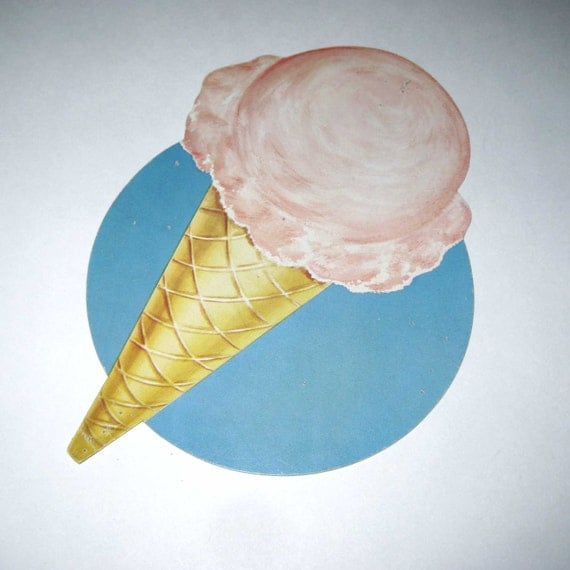 Vintage Ice Cream Cone Die Cut Cardboard School Decoration