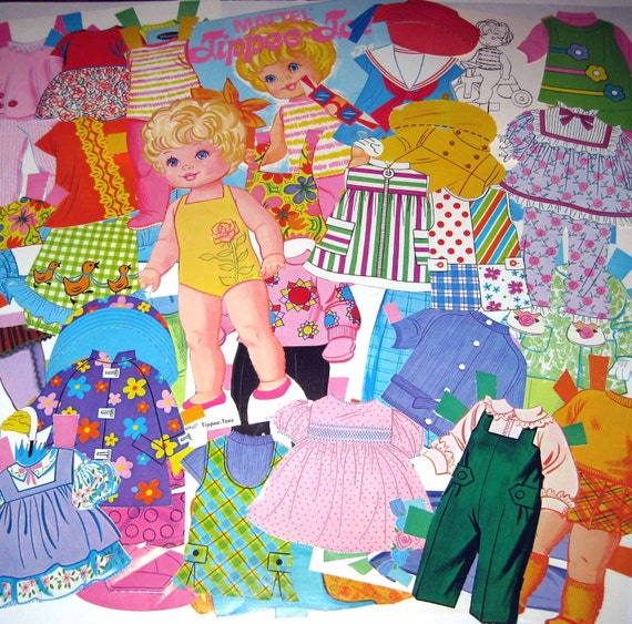 Vintage Mattel Tippee Toes Paper Doll and Outfits by Whitman 1960s