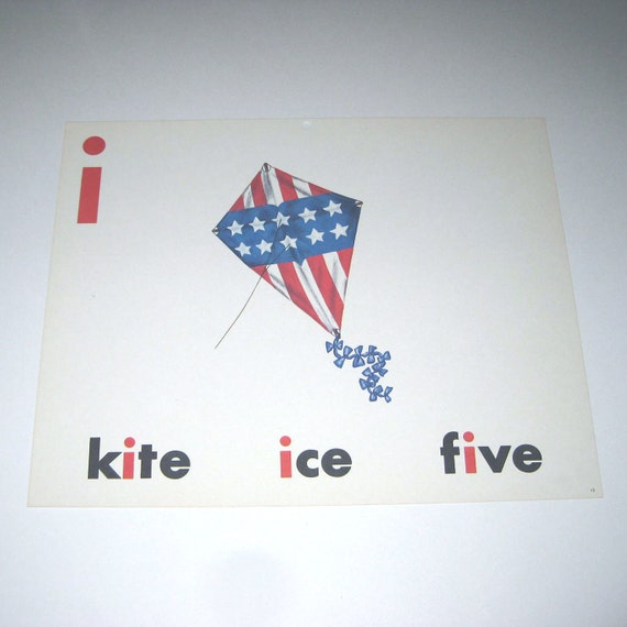 RESERVED 4 CHERYL Vintage 1960s Giant Sized School Flash Card with Picture and Word for Red White and Blue Kite, Patriotic