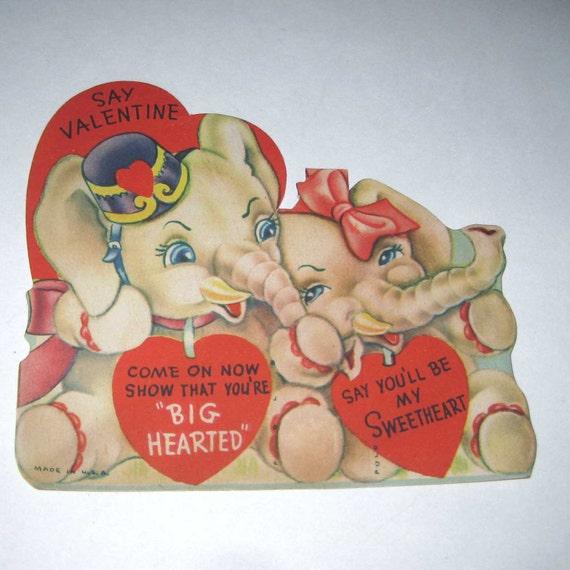 Vintage Children's Novelty Valentine Greeting Card with Elephants