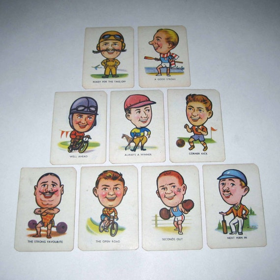 Vintage Children's Sports Snap Playing Cards with Over Sized Heads by Tower Press from England Lot of 9