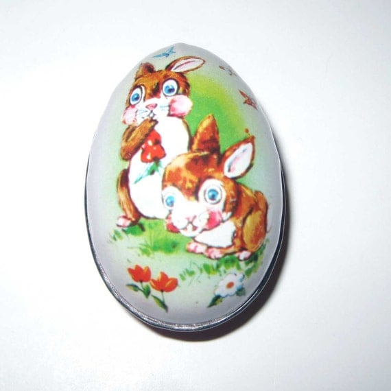 RESERVED4VICTORIANLADY Vintage Green Tin Litho Easter Egg Candy Container with Two Brown Rabbits British Crown Colony of Hong Kong