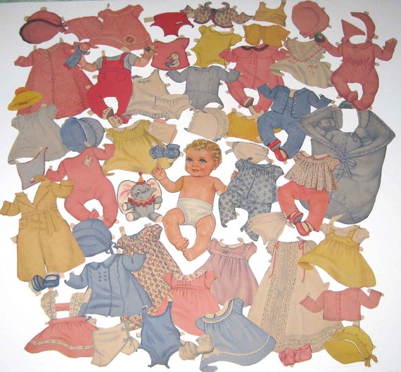 Vintage 1940s Queen Holden Baby Girl Paper Doll and 50 Outfits