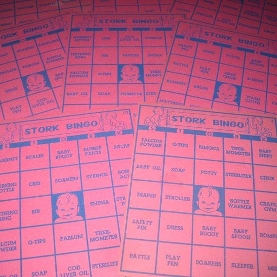 Vintage 1950s Pink and Blue Stork Bingo Cards Lot of 8