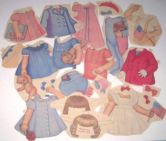 Vintage 1940s Paper Doll Clothing for Little Girl and Boy Toddlers