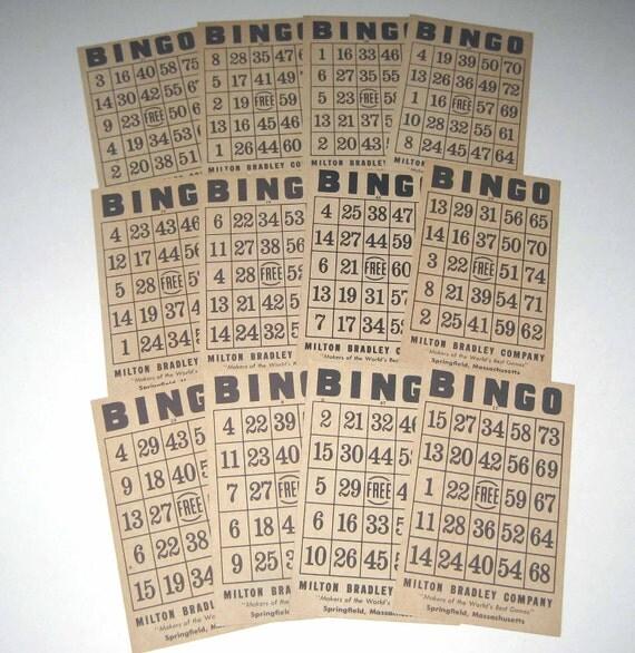 Vintage 1930s Bingo Cards by Milton Bradley Lot of 12