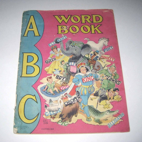 Vintage 1940s Over Sized Children's Textured ABC Word Book Illustrated by Ethel Hays