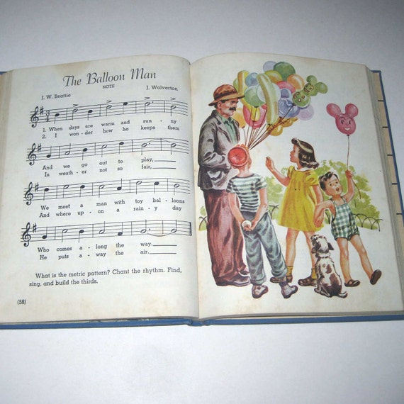The American Singer Book 3 Vintage 1940s Children's School Song Book of Music Illustrated by Corinne Malvern