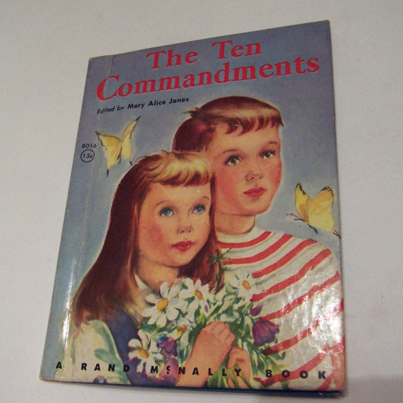 Vintage 1950s or 1960s Childrens Book Entitled The Ten Commandments by Rand McNally