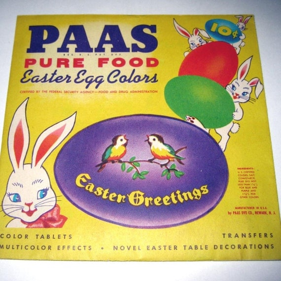 Vintage Paas Easter Egg Colors Dye Packet with Rabbits