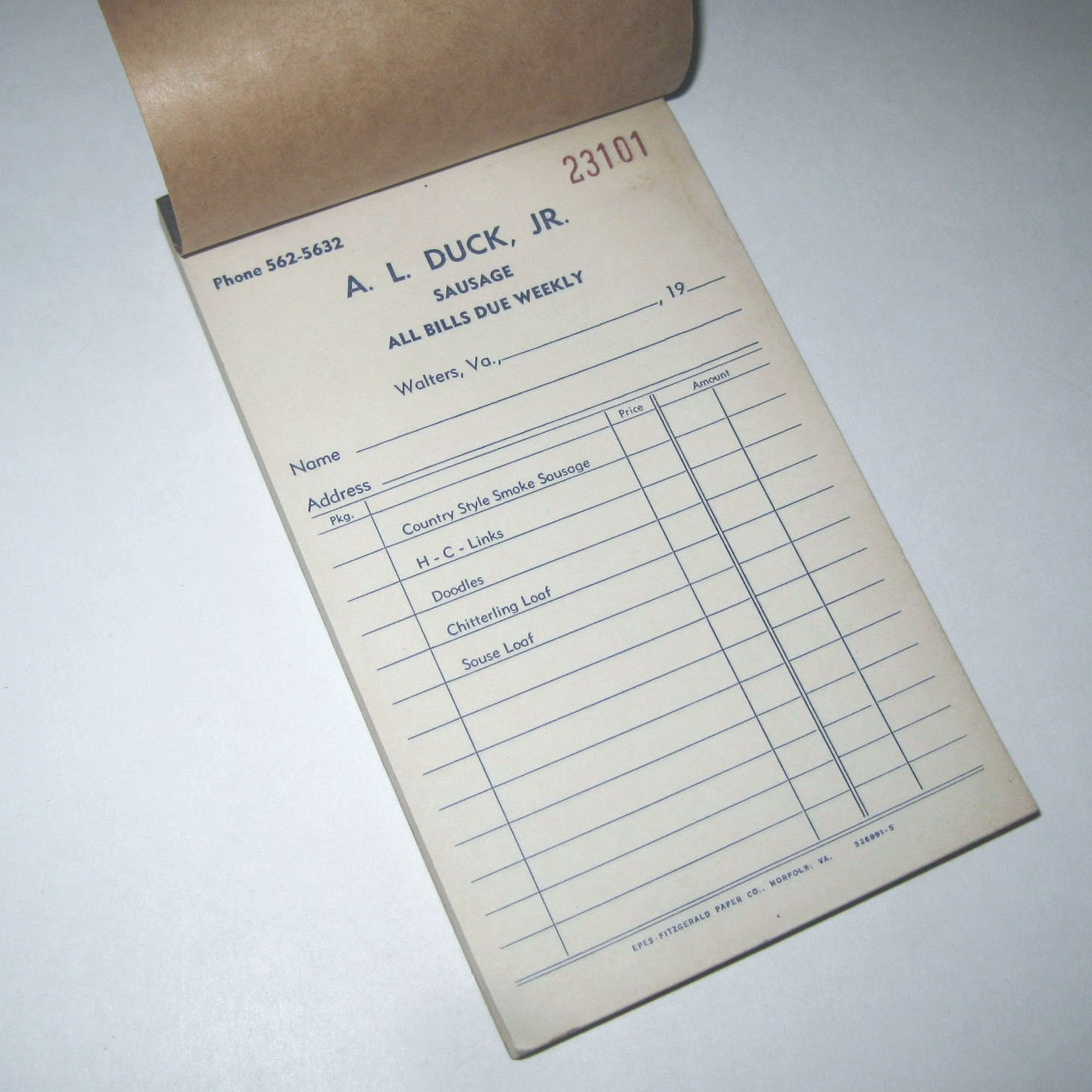 Vintage Unused Receipt Pad from A. L. Duck Jr. Sausage Company