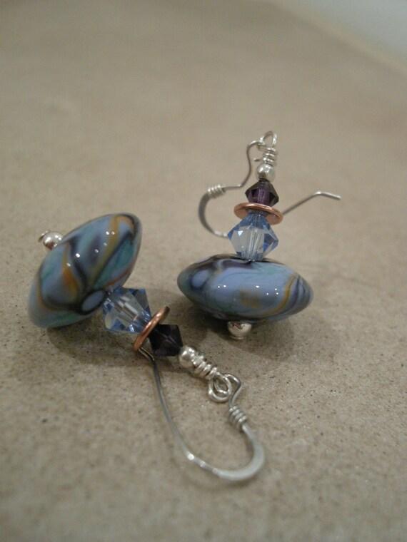 Twirl ... SRA Lampwork, Swarovski Crystals, Sterling and Copper