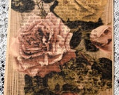 ROSE Flower Print on Vintage 1887 Swedish Book Page  FREE SHIPPING