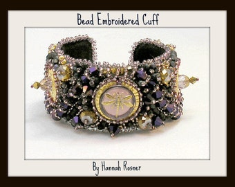 CLEARANCE Bead Embroidery Bracelet - Purple Steampunk Dragonfly by Hannah Rosner