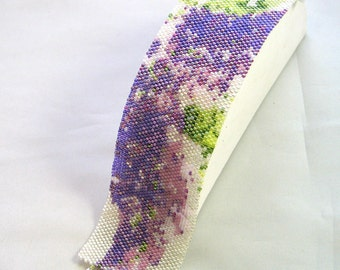 CLEARANCE Lilacs Beaded Bracelet peyote stitch bead cuff by Hannah Rosner